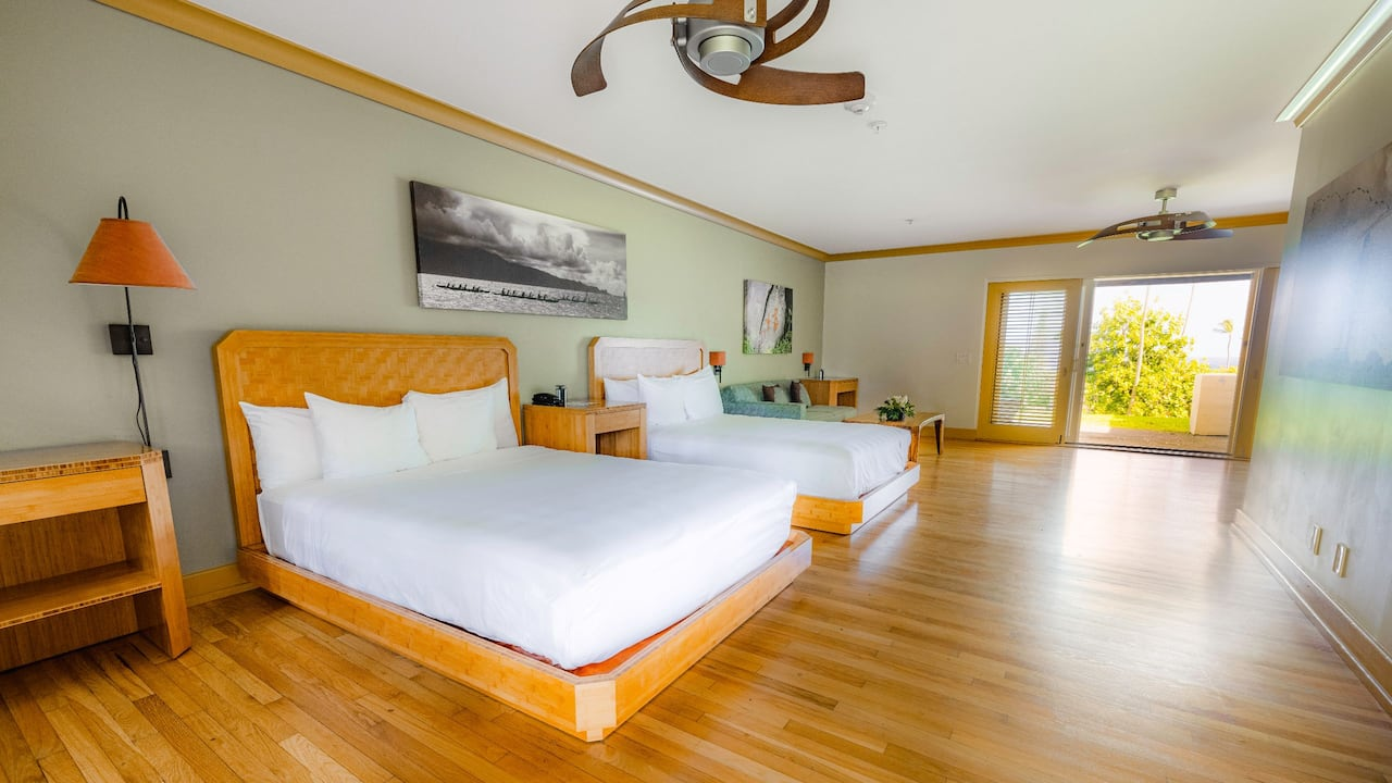 Two queen beds in Hana, Maui hotel