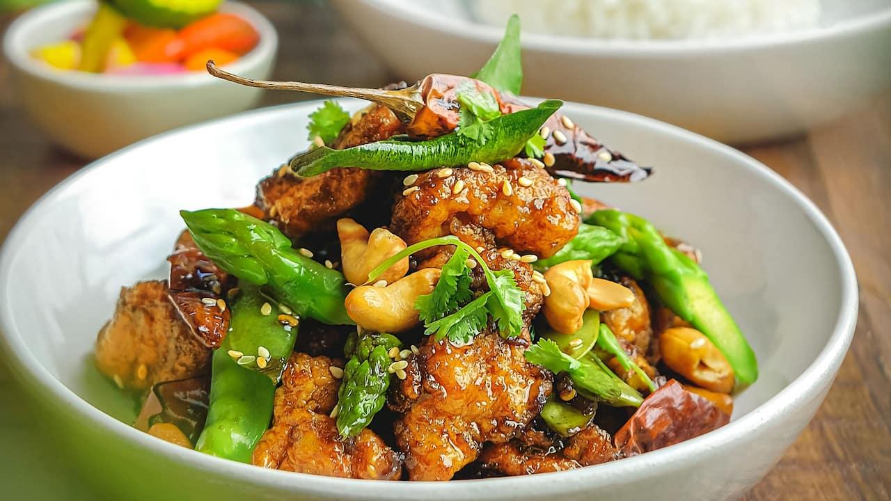 Chicken asparagus and cashew nut food menu Hyatt restaurants Bali