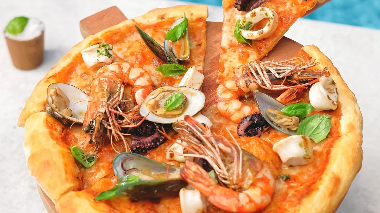 Seafood pizza food menu Hyatt restaurants