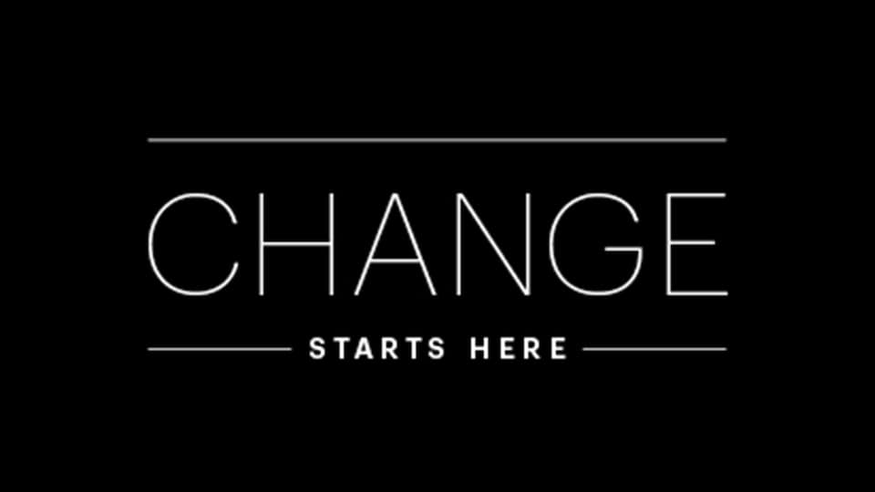 Change starts here text over black background
