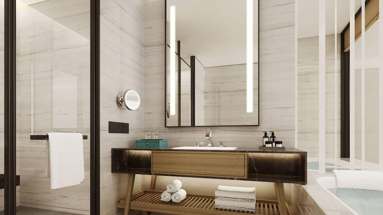 King Suite with Kitchen Bedroom Bathroom