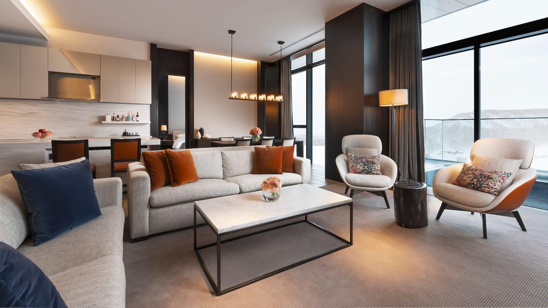 Two Bedroom Penthouse Living Room - Park Hyatt Niseko Hanazono