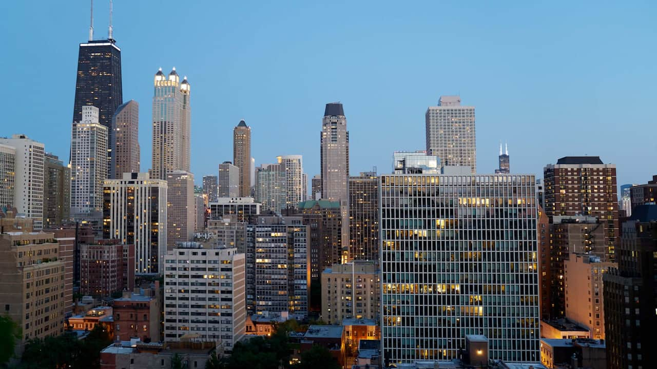 Terrace View Chicago Skyline