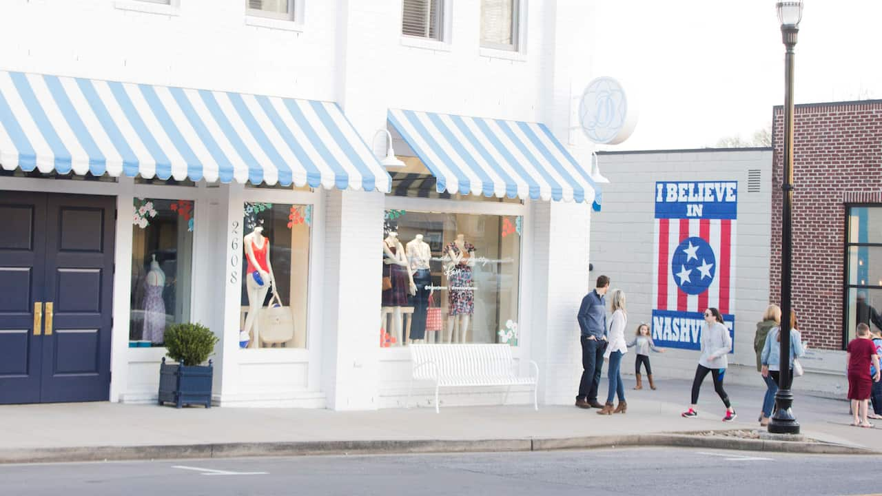 Trendy neighborhood in Nashville with shopping and restaurants
