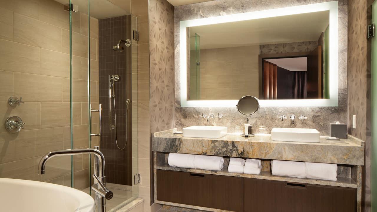 Bathroom of a luxury hotel suite in Nashville