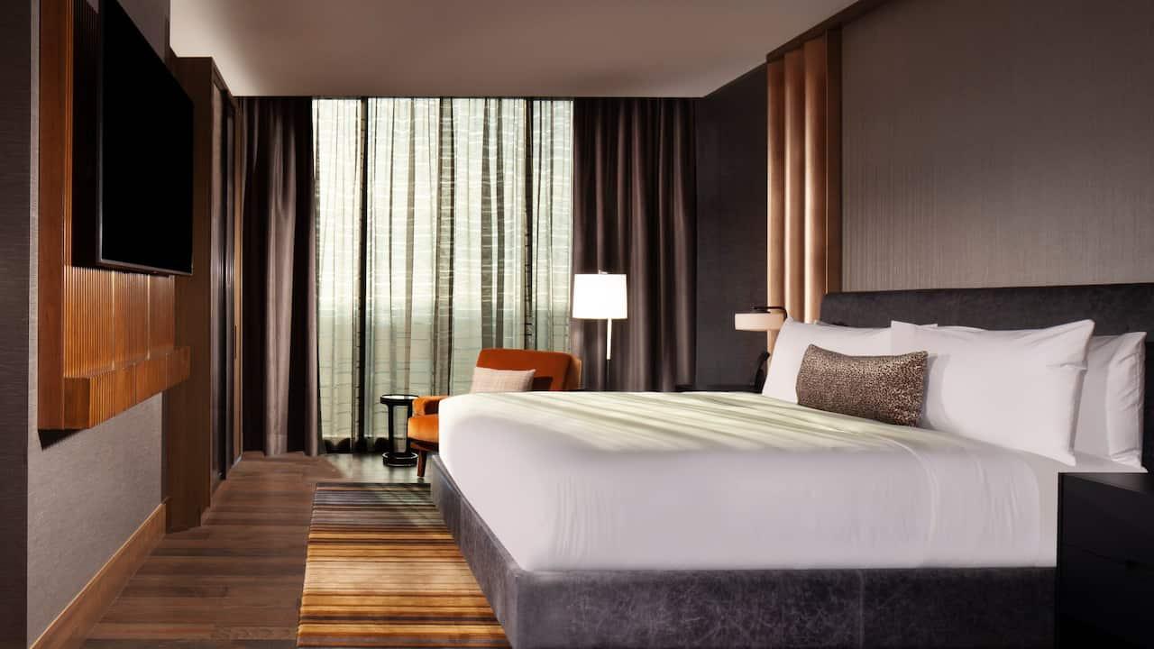 Bedroom of a luxury hotel suite in Nashville