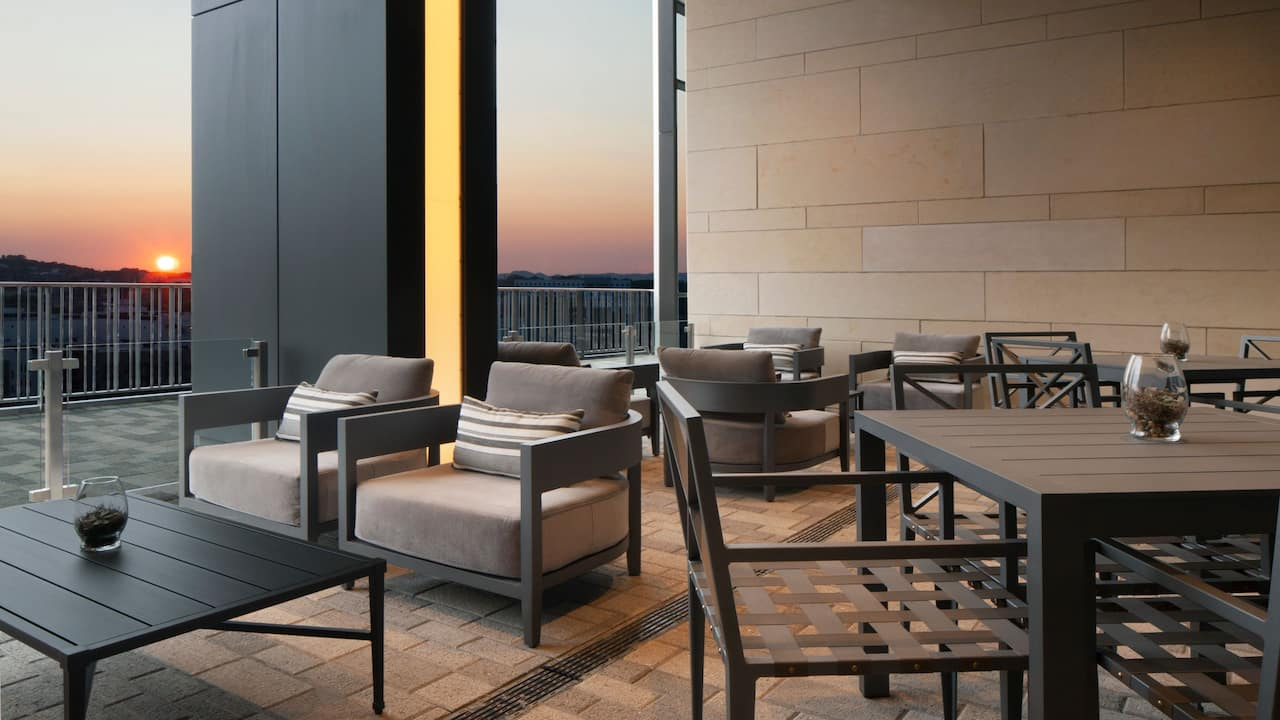 Private outdoor terrace at a luxury hotel in Nashville