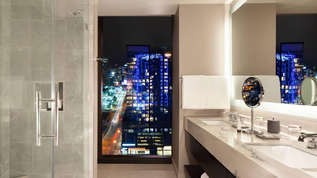 Luxury bathroom in a Nashville hotel suite