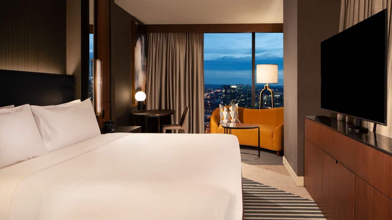 Large hotel guest room near Nashville Yards