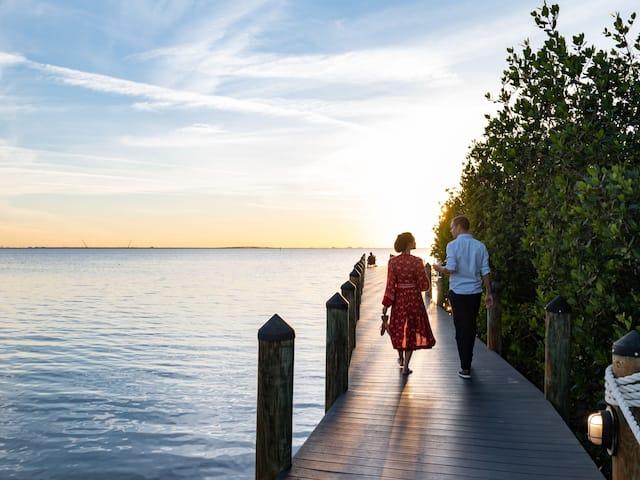 Dock Couple Walking Sunset