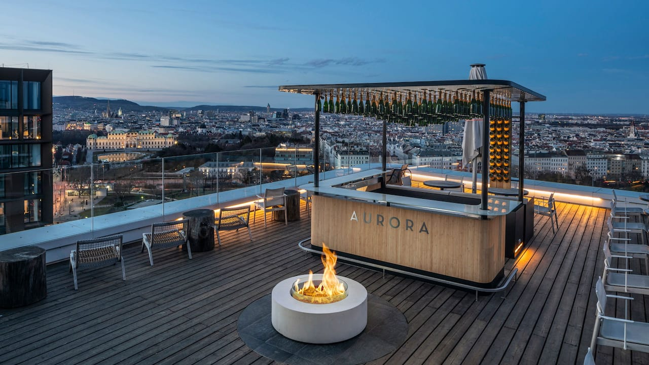 Andaz Vienna Aurora Rooftop Bar Night