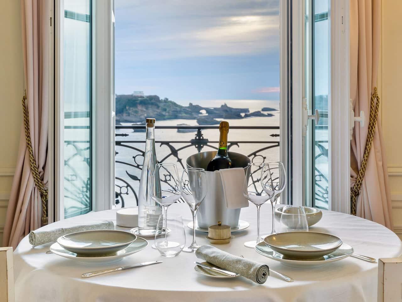 Room Service at Hôtel du Palais overlooking the Ocean