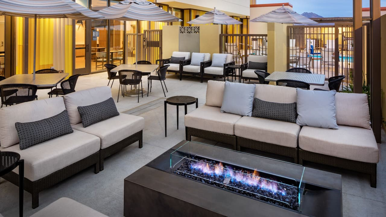 Patio terrace and fireplace at Hyatt House North Scottsdale