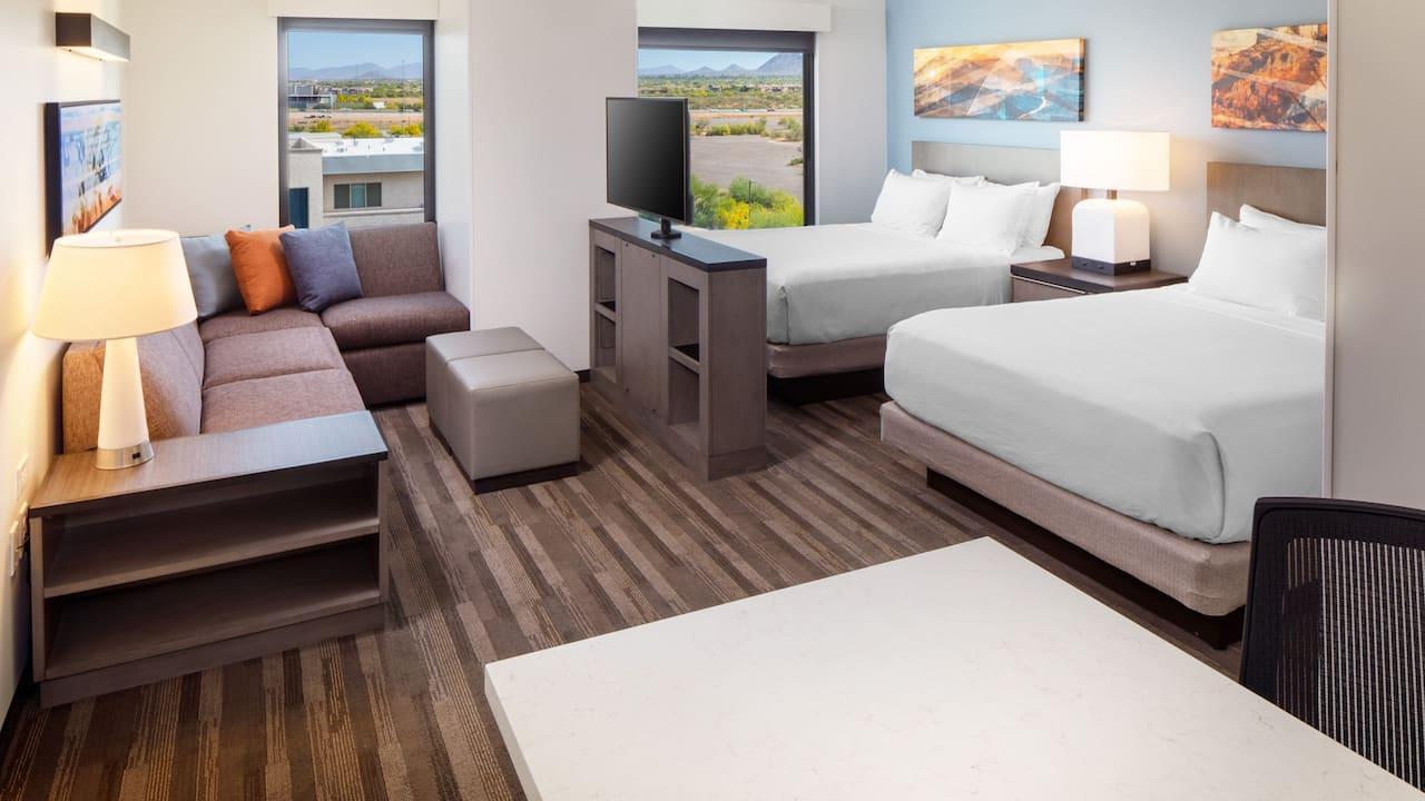 Queen beds studio guestroom at Hyatt House North Scottsdale