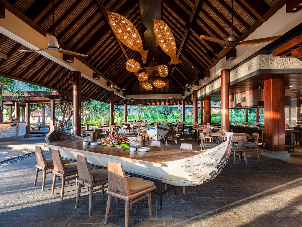 Beachfront dining in Sanur, Bali