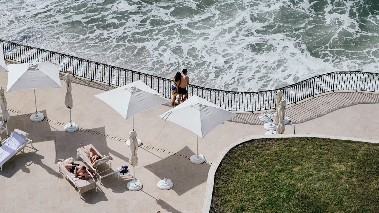Beachview from outdoor pool hotel du palais