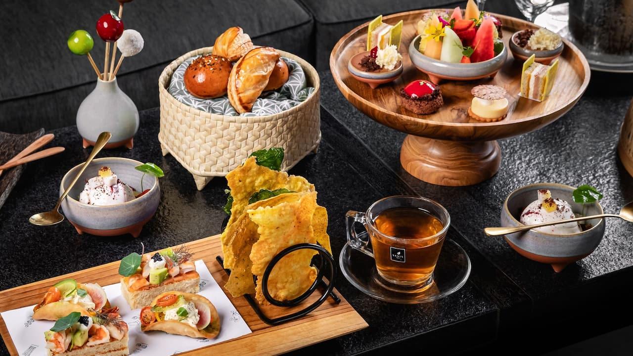 Summer afternoon tea, food menu Hyatt restaurants Bali