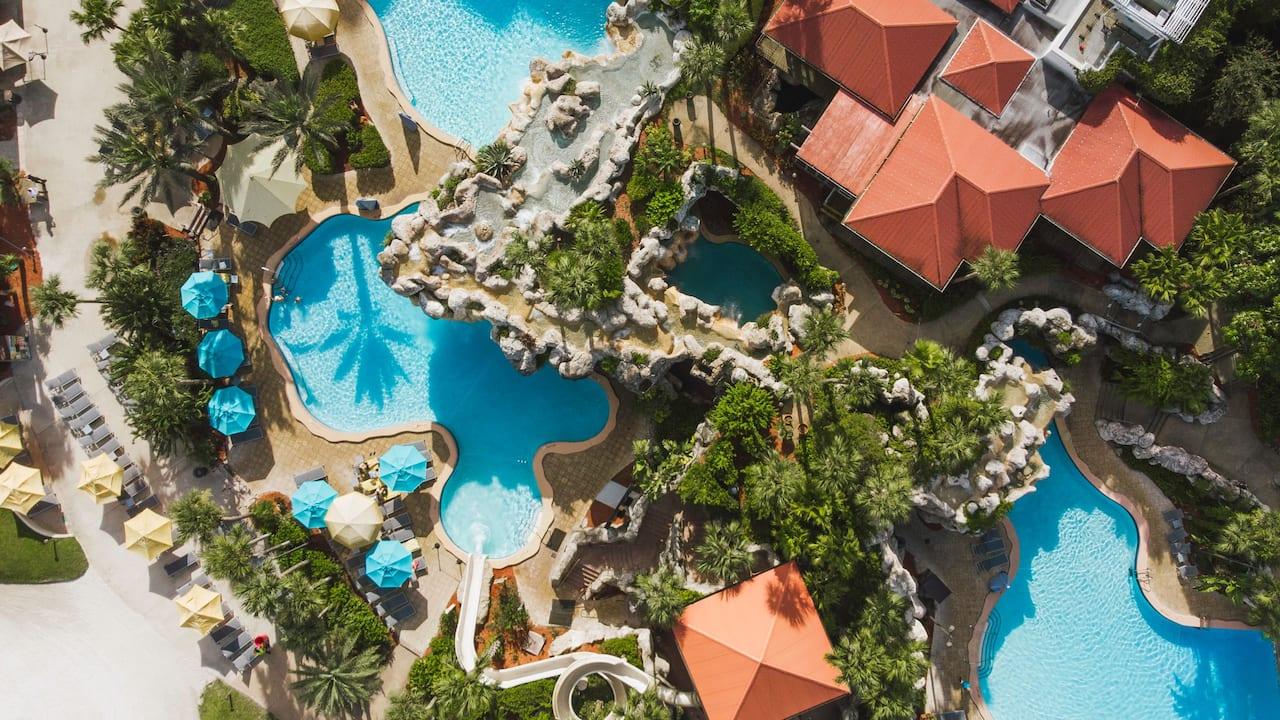 Hyatt Regency Grand Cypress Lagoon Pool Aerial View